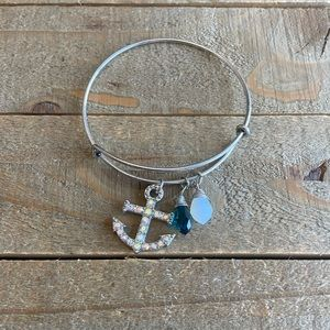 Handmade Silver Anchor Bangle Bracelet